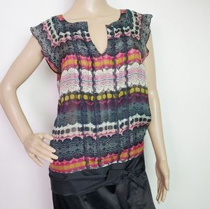 Anthro Odille Lace Print Belt Tie Silk Top  Size 4